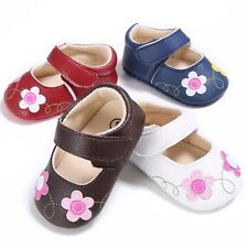 Toddler Baby Girls Flower Princess Shoes Soft Sole Sandals PU Leather Crib Shoes