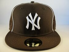 MLB New York Yankees New Era 59FIFTY Fitted Hat Cap Brown White