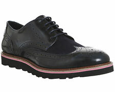 Mens Ask the Missus Coco Wedge Sole Brogues NAVY LEATHER SUEDE Casual Shoes