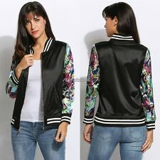 New Fashion Women Casual Both Sides Wear Long Sleeve Floral Print Jacket WST