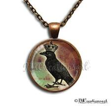 Handmade Glass Dome Bezel Pendant Necklace King Crow Gothic HD126