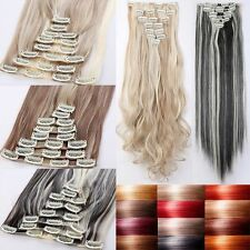 """US Lady 17-30"""" Long Thick Clip in Hair Extensions Mega Thick 8 Pcs Full Head THH"""