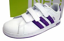ADIDAS NEO GIRLS TEENS DERBY CMF K LEATHER TRAINERS WHITE/PURPLE UK 3 EUR 35.5