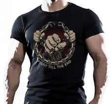 FIGHT TILL END MMA FIGHTING WORKOUT MOTIVATION MENS T SHIRT UFC muay thai
