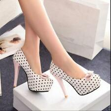 Sweet Cute Dress Womens Bowknot Pumps Slim Stiletto High Heels Party Shoes Sz