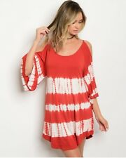 Tie Dye Open Cold Shoulder Bell Sleeves Tunic Dress Soft New Brick White Sexy