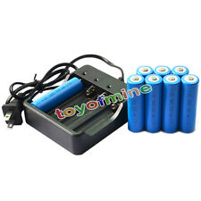 8x 18650 3.7V GTL 5000mAh Li-ion Rechargeable Battery for LED Torch + Charger