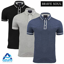 Mens Polo T-Shirt Brave Soul Collar Short Sleeved Casual Summer Top New S M L XL