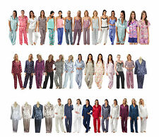 Ladies Silky Soft Satin Pajamas PJs Pyjamas Jammies Set