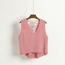 Ladies V Neck Knit Vest Sleeveless Lace Up Loose Waistcoat Sweater Chic Top Sexy