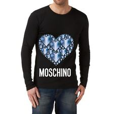 Black Men Modern New T-shirt Tee Long Sleeves Blouse Blue Heart Love Moschino