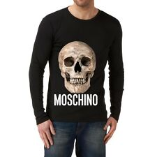 Black Men Modern New T-shirt Tee Long Sleeves Blouse Skeleton Love Moschino