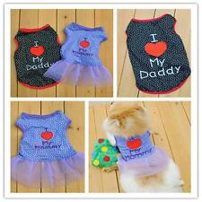 I Love My Daddy Mummy Dog Pet Tank-top T-shirt Vest Clothes S M L XL prevalent 。