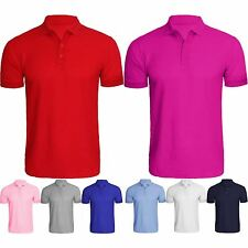Mens New Plain Short Sleeve Shirt Pique Polo T-Shirt Style Fit 8 Colours Tee Top