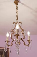 Beautiful 3 Light Vintage French Crystal and Bronze Birdcage Chandelier