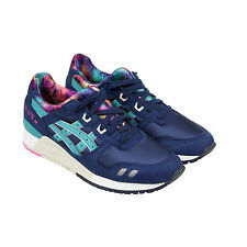 Asics Gel-Lyte III Mens Blue Leather & Mesh Trainers Lace Up Shoes