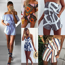 Womens Summer Holiday Mini Playsuit Girls Jumpsuit Beach Shorts Dress Size S-XL