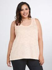 Torrid Crochet Inset Tank Top Womens Plus Sleeveless Peach Nwot