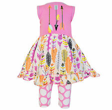 AnnLoren Girls Pink Feather Dress and Capri Outfit sz 12/18 mo-9/10