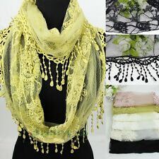 Women Fashion Floral Lace Trim Tassel Dot Infinity Loop Mantilla Cowl Scarf New