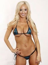 Blue with Black Animal Tie Side Thong Micro Bikini 2pc Extreme with Black String
