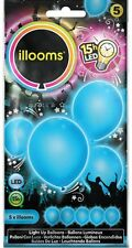 illoom Blue Light Up LED Balloons - Pack of 5 for Parties Birthdays Weddings