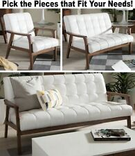 Matching Mid-Century White Leather Chair Sofa Loveseat Furniture Chairs Sofas