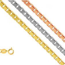 10k Solid Yellow Or White Gold 0.6mm Box Chain Necklace  14 16 18 20 22 24