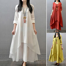 Summer Women Ethnic Boho Linen Long Sleeve Peasant Gypsy Blouse Shirt Maxi Dress