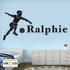 Boy Football Player Personalised Any Name Bedroom Wall Art Mural Decal Sticker