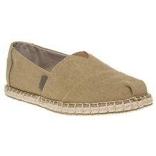 New Mens Toms Tan Khaki Chambray Stripe Textile Shoes Canvas Slip On