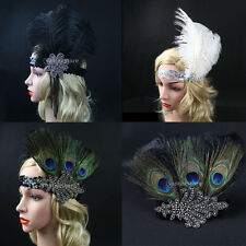 FLAPPER HEADBAND Feather Sequin Costume Gatsby Charleston Vintage Headpiece 1920