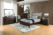 Contemporary Bed Dresser Mirror Nightstand for Bedroom Furniture 4pc Set Cherry
