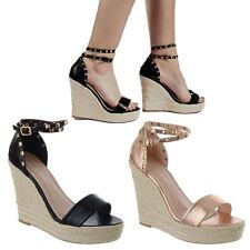 LADIES WOMENS HIGH HEEL WEDGE ESPADRILLES STUDDED ANKLE STRAP SANDALS SHOES SIZE