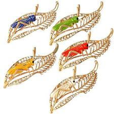 Chic Crystal Rhinestone Leaf Grasshopper Locust Cricket Pin Brooch Party Jewelry