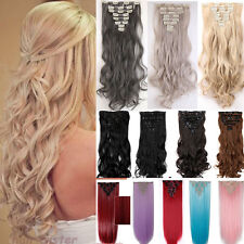 Real Extra THICK Clip In Hair Extensions Full Head curly straight 17-26 Inch Tgn