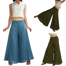 New Women High Waist Pant Flare Wide Leg Long vintage Pants Palazzo Trousers