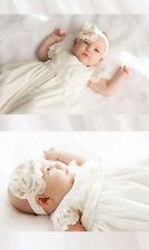 Vintage Baptism Gowns Cap Sleeve Baby Christening Dresses +Bonnet Custom Newest
