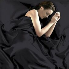 Comfy Soft Satin Silk Fitted+Pillowcase+Flat Twin Queen Sheets Set Red Black