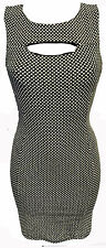 BLACK WHITE POLKADOT SPOTTY BODYCON MINI PENCIL DRESS FITTED SLEEVELESS SPOTTED