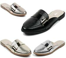 LADIES WOMENS SLIP ON LOAFERS MULES FLAT SLIPPERS SCHOOL SMART CASUAL SHOES 3-8