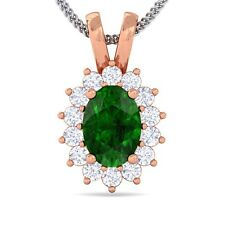 Green Emerald FG SI Diamond Oval Gemstone Pendant Women Gift 10K Solid Gold