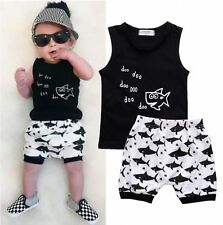 2 pcs Summer Toddler Boys Baby Set Sleeveless T-shirt+Short Pants Kids Outfits