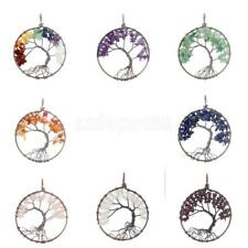 Tree of Life Healing Crystal Gemstone Loose Beads Charm Pendant for Necklace DIY