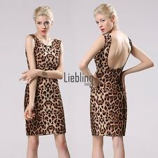 Stylish Women Sexy Slim Leopard Mini Dress Sleeveless Backless Pencil Dress LEBB