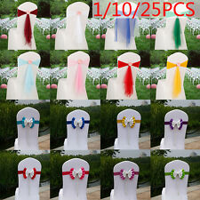 1/10/25PCS Fashion Chair Cover Sash Bow Wedding Party Reception Banquet Decor