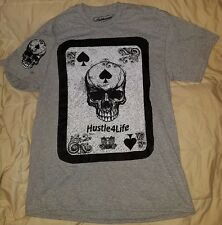 Hustle Graphic T-Shirt New Unique Playing Card 100% Cotton w/ skull on sleeve LG