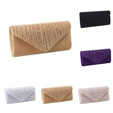 Women Luxury Rhinestone Satin Evening Party Clutch Bag Wallet Purse Handbag
