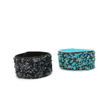 Black & Blue Beads Faux Leather Bracelet Wristband Bangle Cuff For Birthday Gift