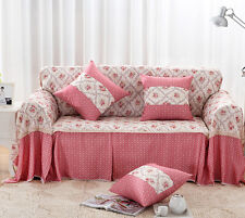 Pink Floral Cotton Blend Lace SlipCover Sofa Cover taul Protector for 1 2 3 4 se